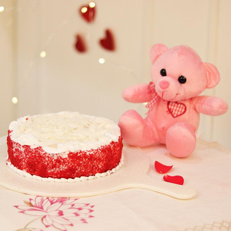 Dipped In Love - 6 Inch Teddy with 1 Kg Red Velvet Cake