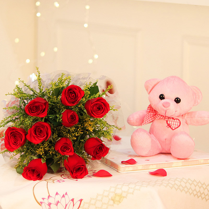Red White Romance - 6 Inch Teddy with Bunch of 10 Red Roses