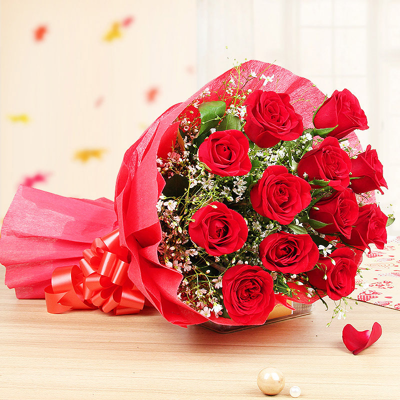 12 red roses bunch - 2nd gift of Adorable Expressions