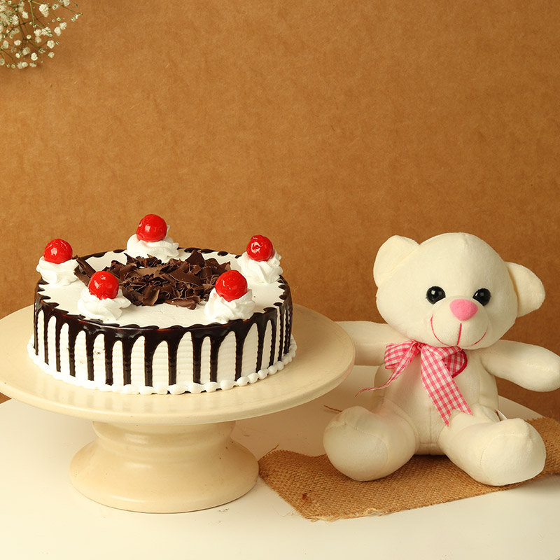 Cuteness On Top - 6 Inch Teddy with 500gm Black Forest Cake