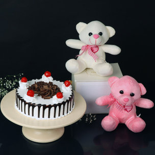 Mushy Magic - Two 6 Inch Teddies with 500gm Black Forest Cake