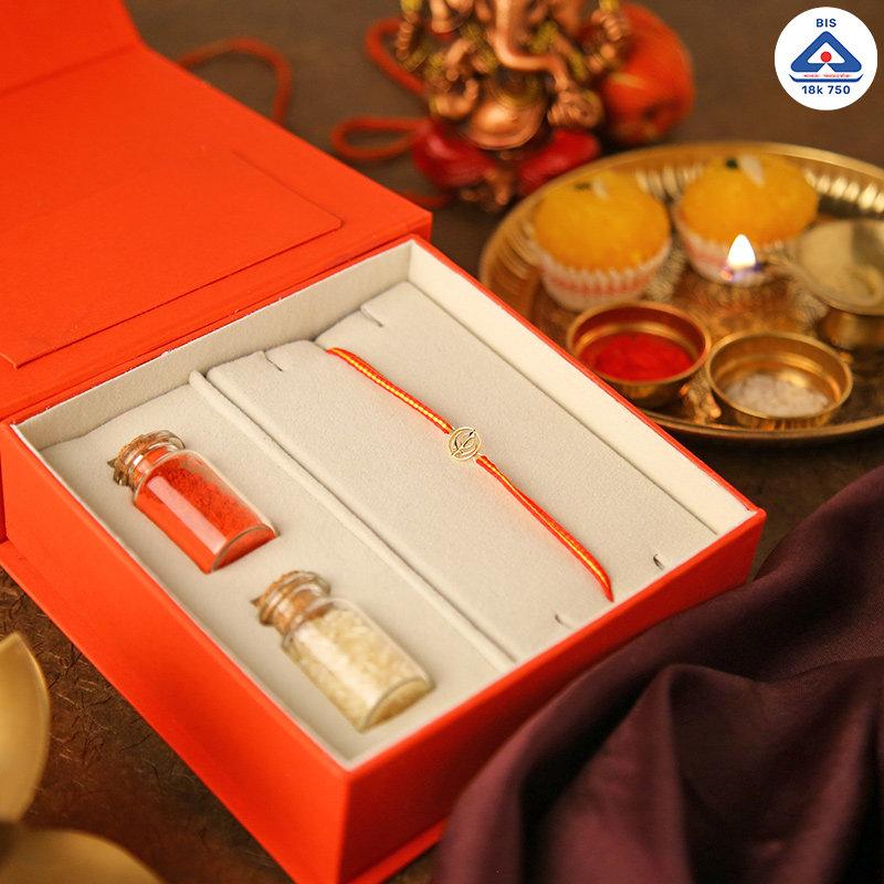 18k Gold Khanda Rakhi Box - Gold Designer Rakhi Online