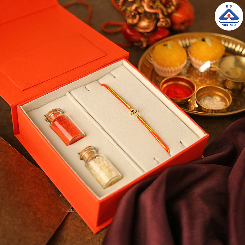 18k Gold Waheguru Rakhi Pack - Gold Designer Rakhi Online