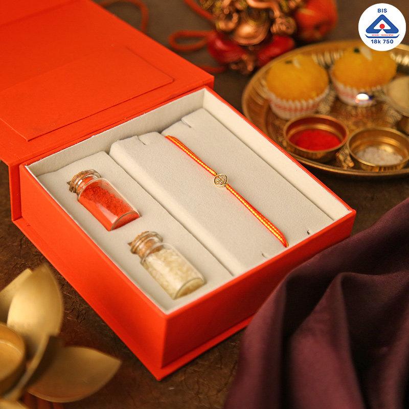 18k Luxurious Swastika Rakhi Box - Gold Designer Rakhi Online