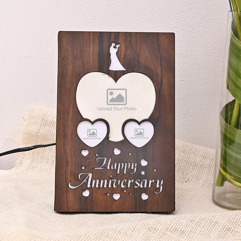 Wooden Anniversary Photo Lamp