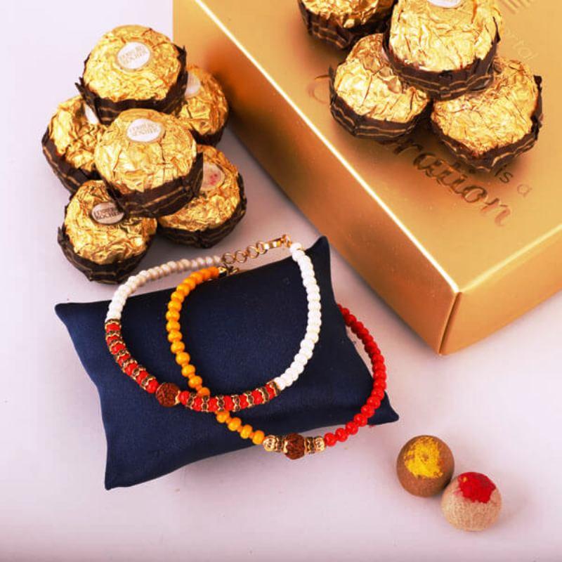2 Bracelet Rakhi N Rochers Combo