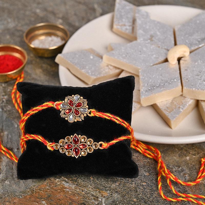 Traditional Rakhi Set With Sweets Combo - Set of 2 Kundan Rakhis