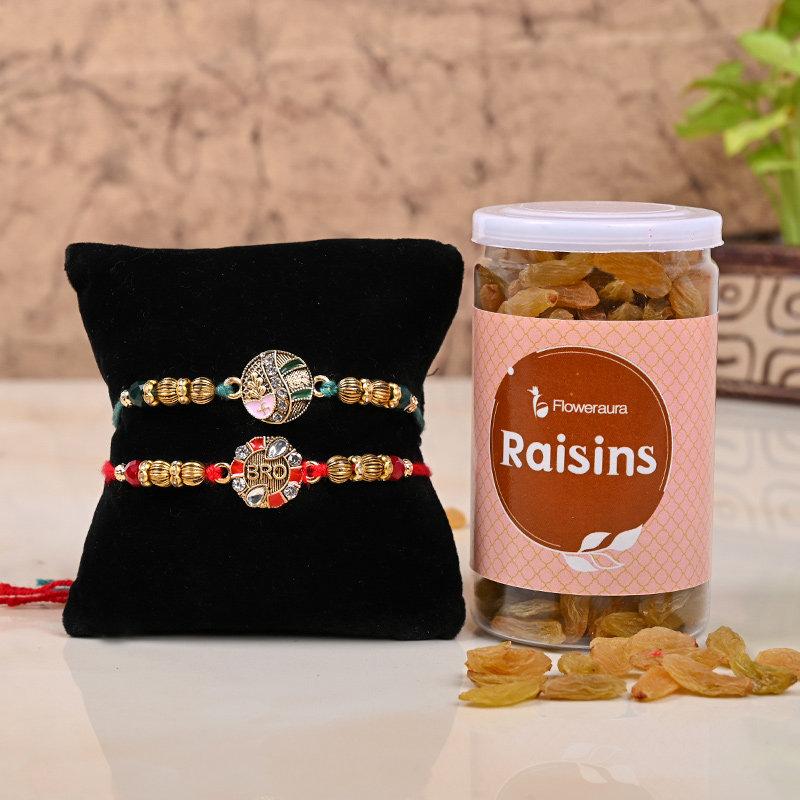 2 Traditional Rakhis & Raisins Combo