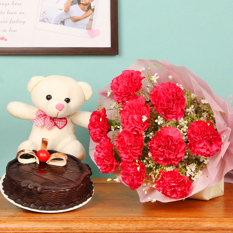 Cuddly Choco Hamper - 10 pink carnation flower with half kg chocolate cake and teddy for valentine