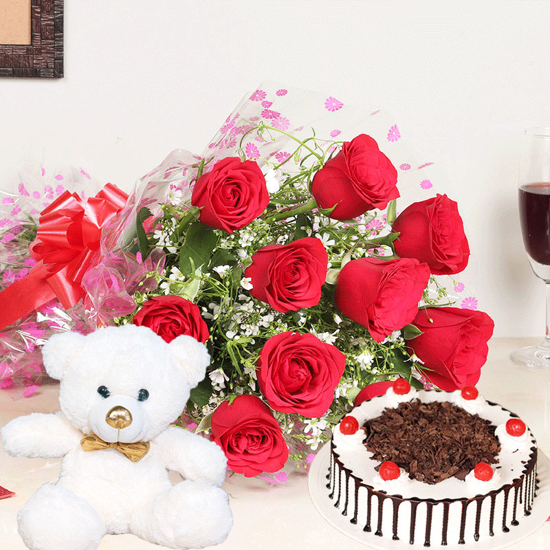 Rose Bouquet With Teddy N Cake - Bunch of 10 Red Roses with 500gm Black Forest Cake