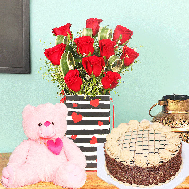 Rose Box With Rich Cake N Teddy Bear - Bunch of 10 Red Roses with Love Flower Box and 500gm Chocolate Cake and Pink Teddy
