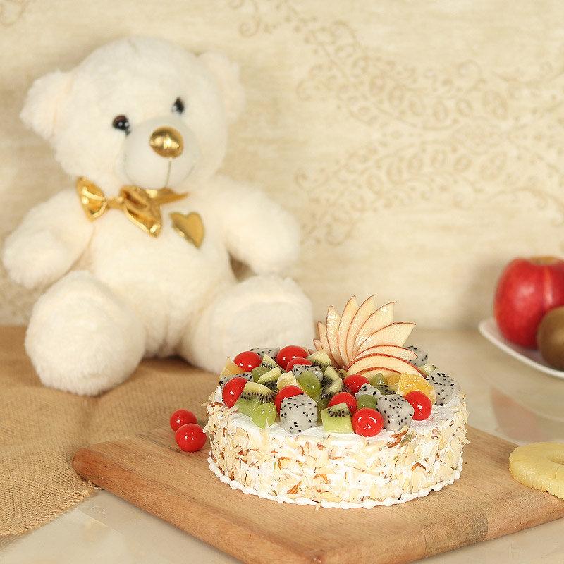 Fluff Fruity Velvet Combo - 12 Inch Teddy with 500gm Fruit Cake