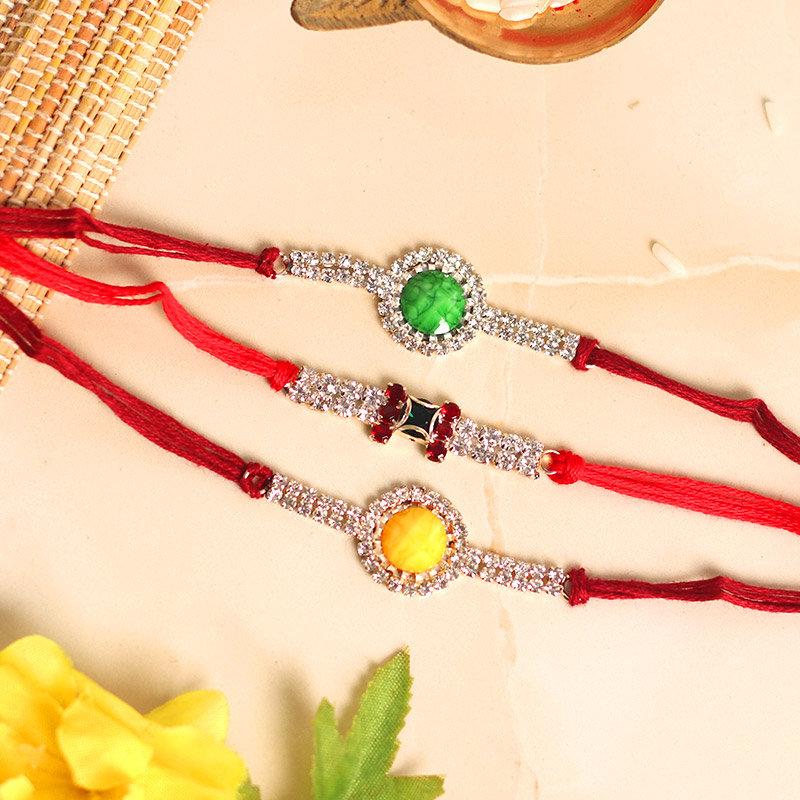 3 Diamond Rakhi Set - Set of 3 Designer Rakhis with Roli Chawal