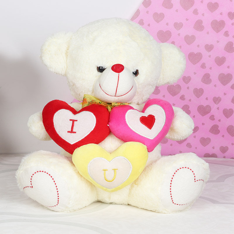 3 Hearts Teddy for Teddy Day Gift