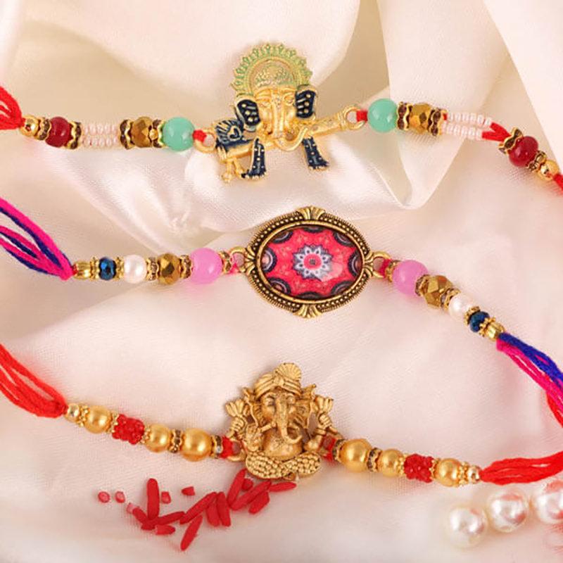 3 Rakhi Combo With Complimentary Roli Chawal