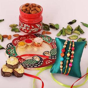 3 Rakhi Set With Dryfruits And Ferrero Rochers