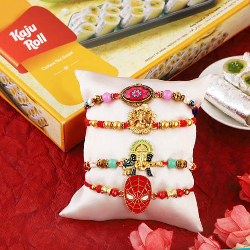 3 Rakhi Set With Kaju Roll Combo
