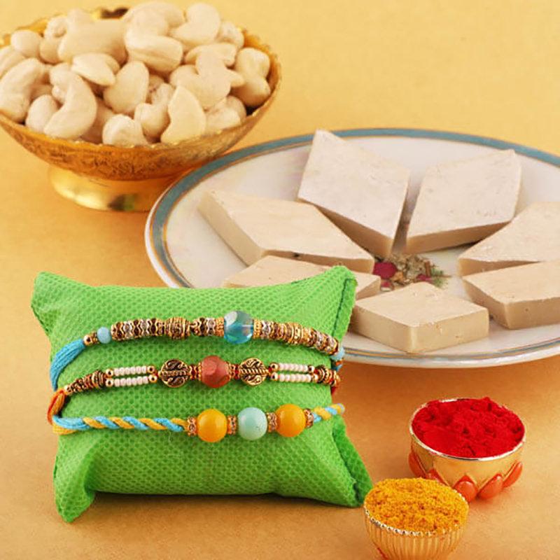 3 Rakhi With Kaju Katli And Cashews Combo