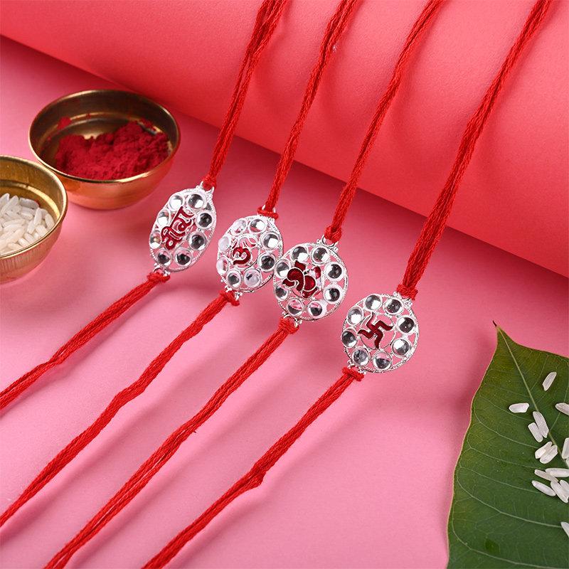 4 Holy Strings Rakhi Set - Set of 4 Designer Rakhi