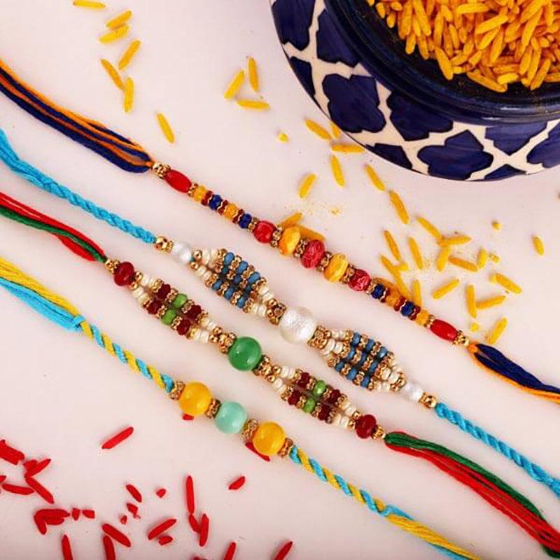 4 Rakhi Threads Combo