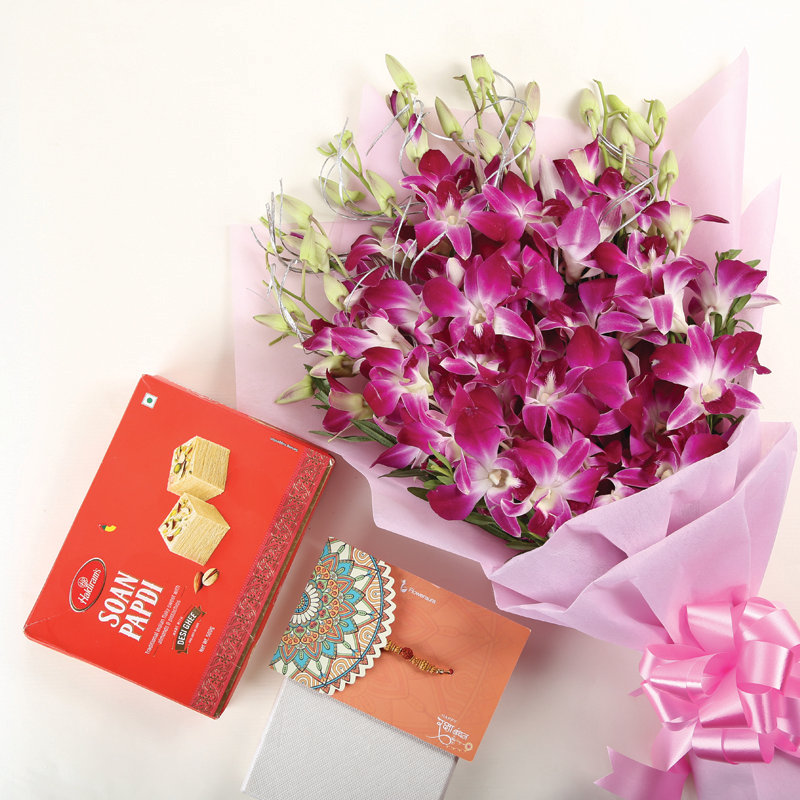 Rakhi Orchid Soan Papdi - Order Now for Same Day Delivery