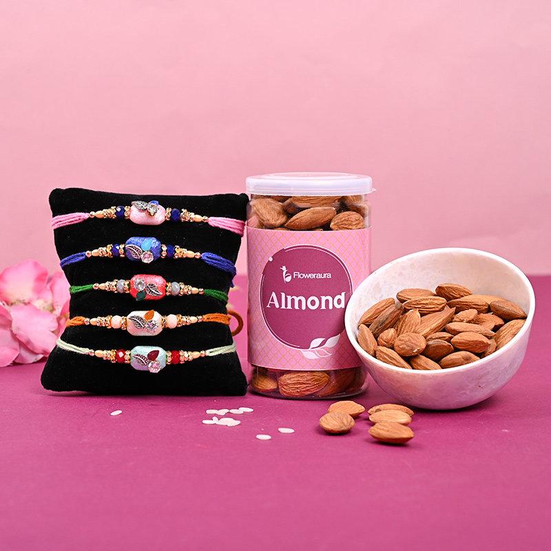 5 Colourful Rakhis & Almonds Combo