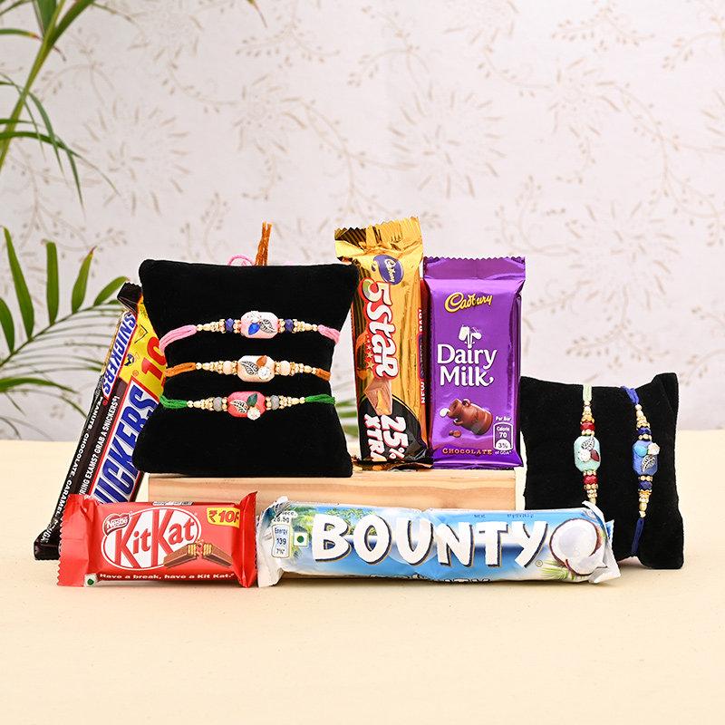 5 Rakhi Set with Chocolates