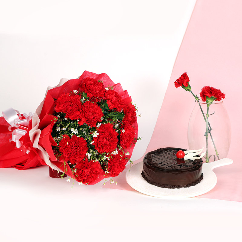 Choco Carnival - Combo of 10 Red Roses and Chocolate Cake