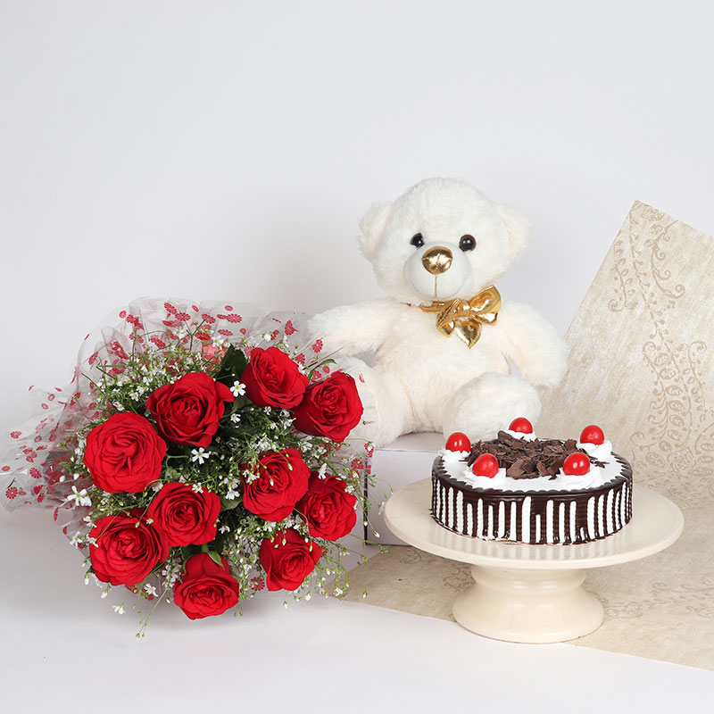 Must Be Love - Combo of red roses bunch with black forest cake and teddy