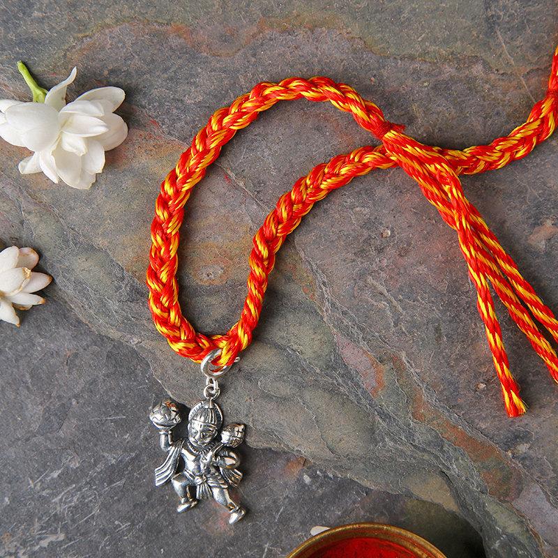 925 Sterling Silver Bajrang Rakhi - Silver Designer Rakhi Online