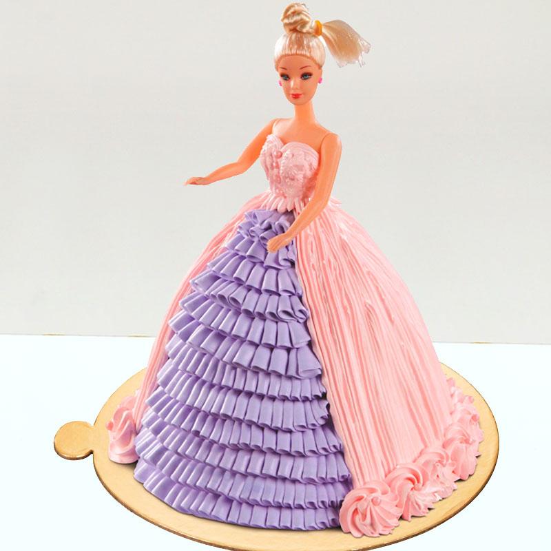 Barbie Theme Fondant Cake For Girl Birthday