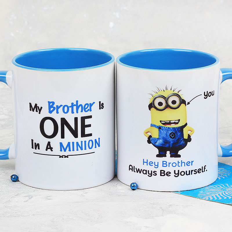 A Delightful My Brother Is One in A Minion Mug with Both Sided View