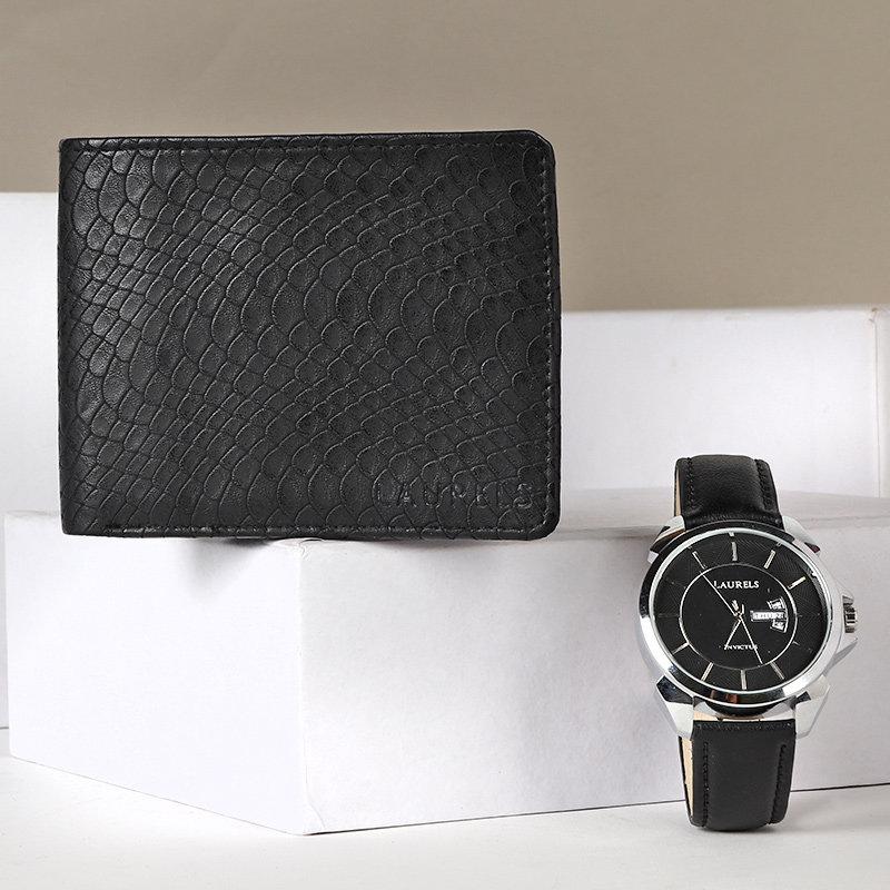 Black Wallet N Watch Combo