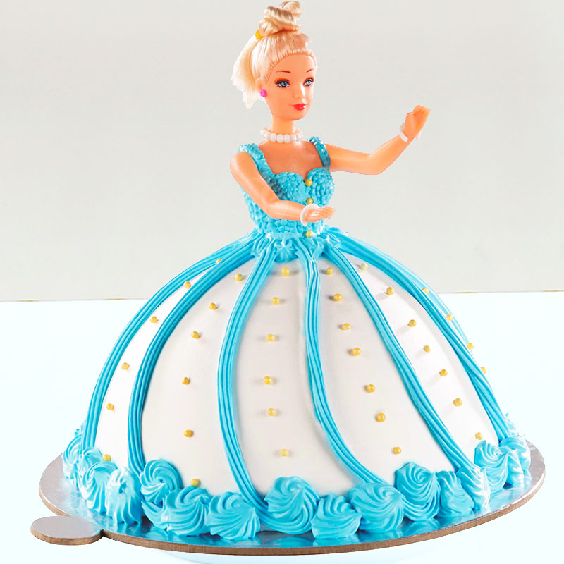 Blue Barbie Theme Fondant Cake for Baby Girl