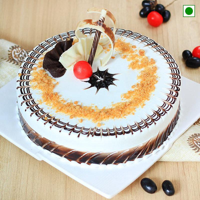 YummyScotch Cake Eggless - An eggless butterscotch cake
