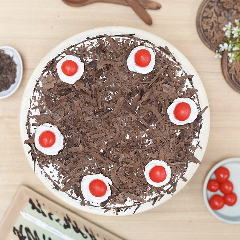 Top view of Choco Black Forest Birthday Cake