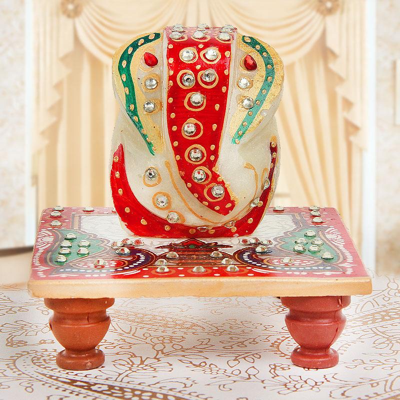 Lord Ganesha Marble Figurine on Marble Chowki - A Divine Gift