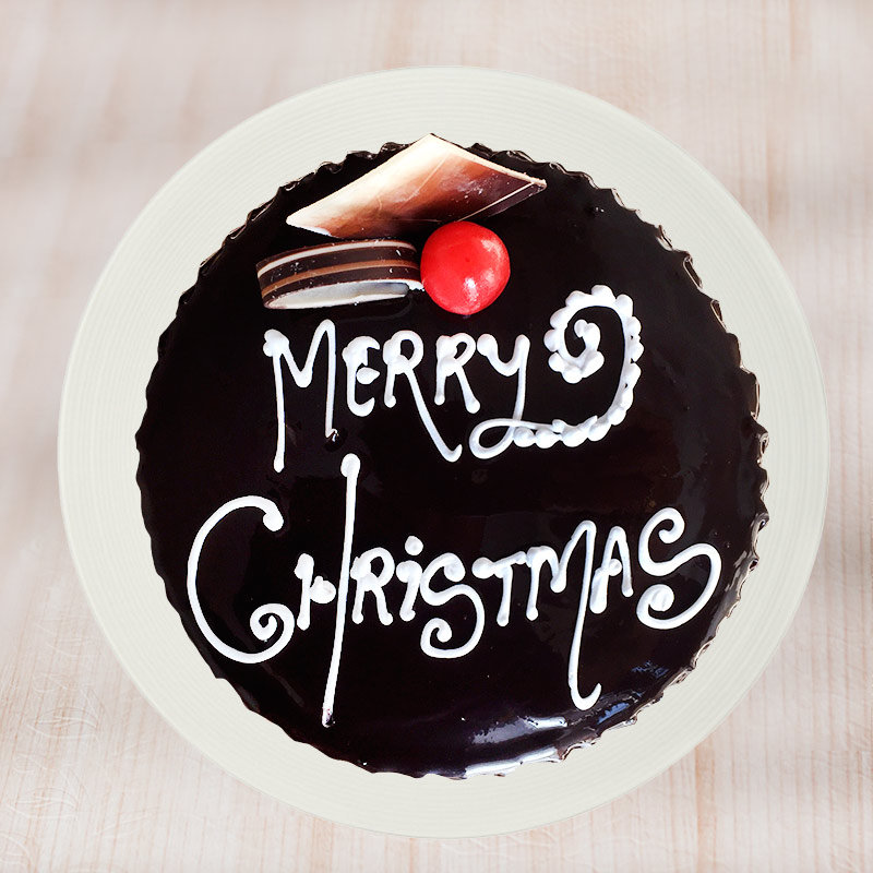 Christmas Chocolate cake - Top View