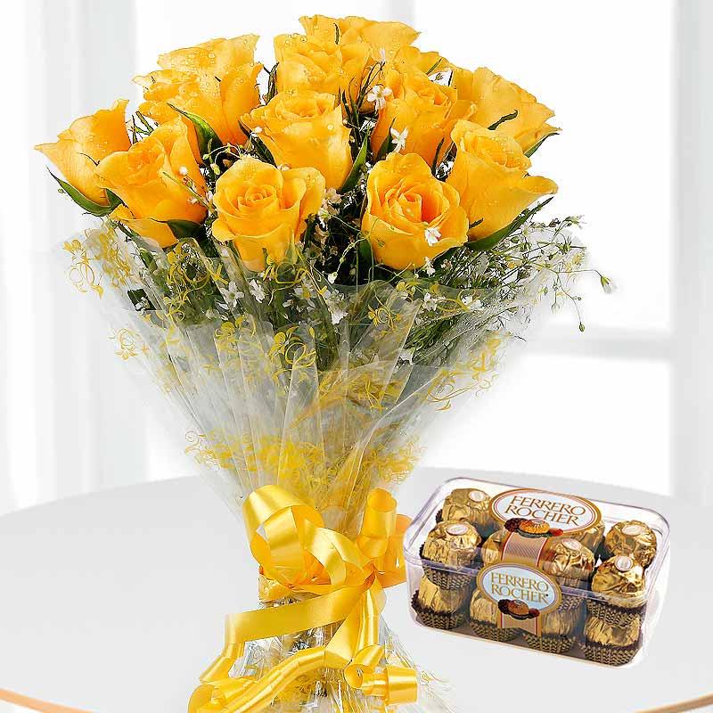 12 Yellow Roses Bunch A Box of 16 Ferrrero Rocher