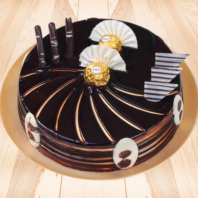 Choco-Ferrero Cake with Top View