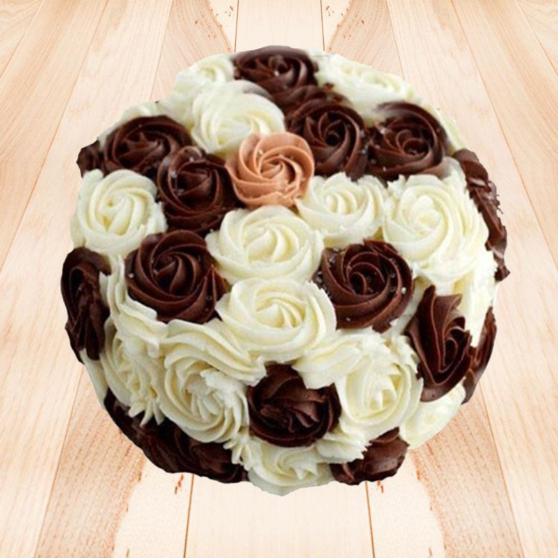 Flowery Choco-Vanilla Cake