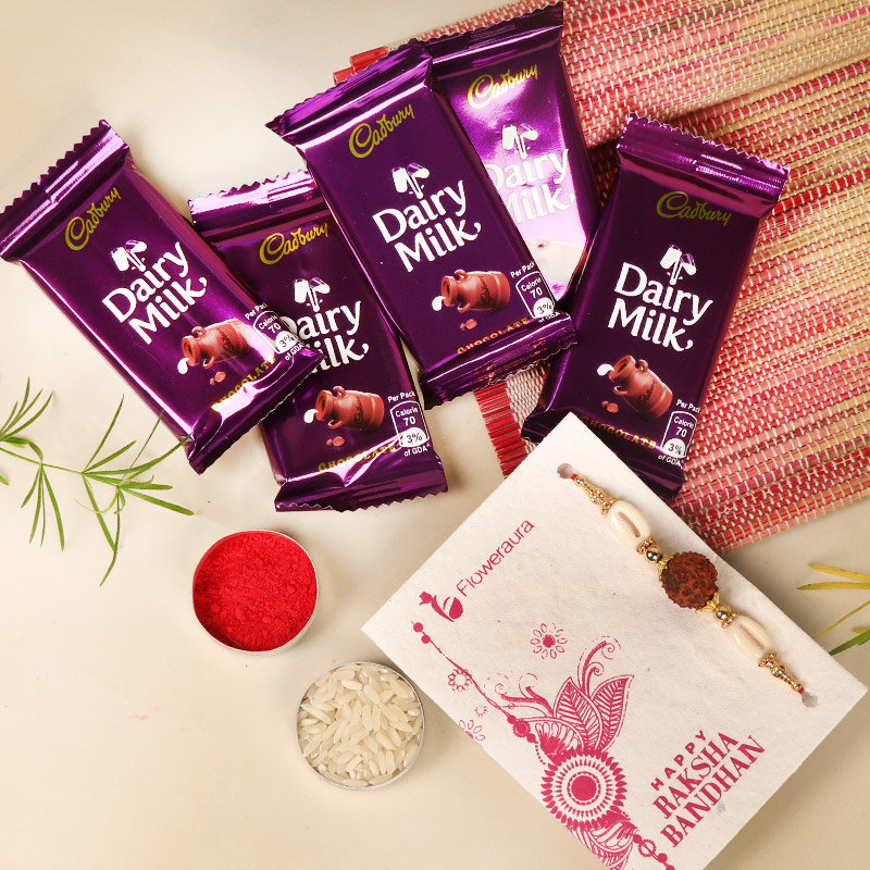 Rakhi with 5 Cadbury Dairy Milk 13 gm