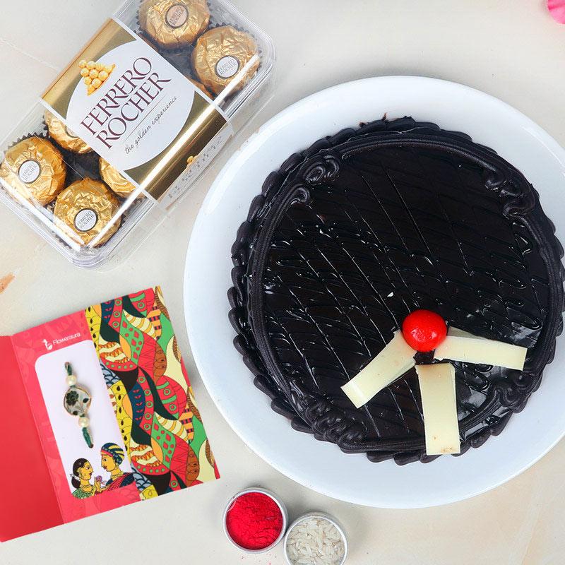 Rakhi With Ferrero Rocher N Cake