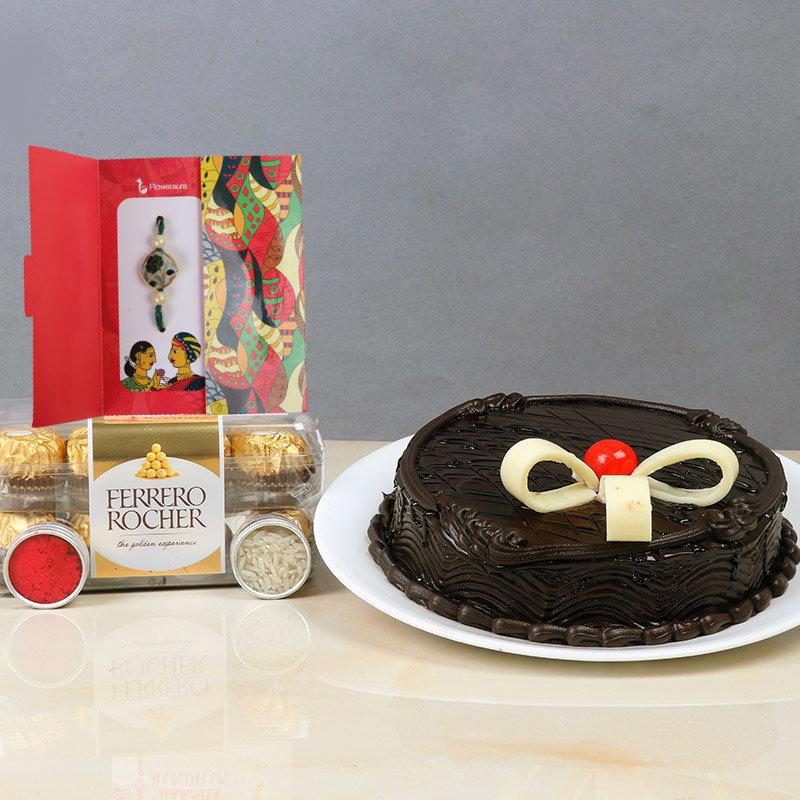 Rakhi with 1/2 KG Chocolate Cake, pack of 16 Pcs Ferrero Rocher