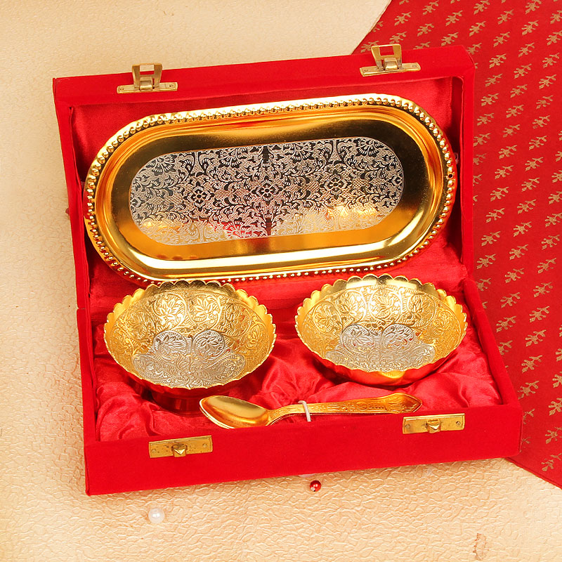 Set of Gold Plated Bowl Tray and Spoons
