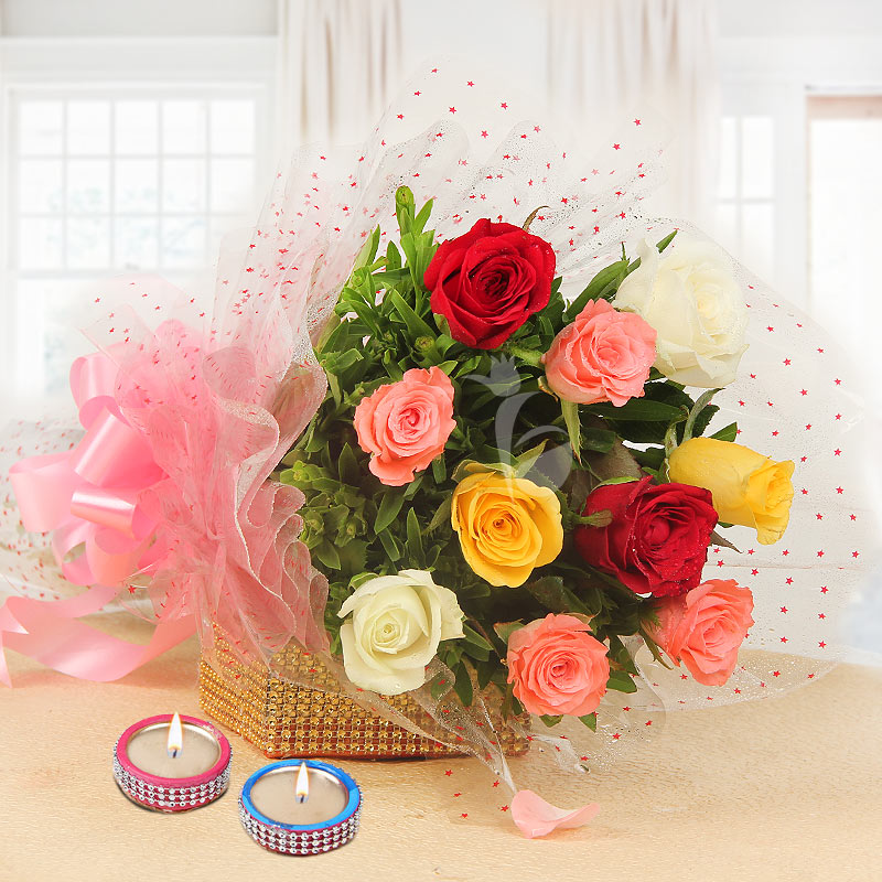 10 Mixed Color Roses and 2 Designer Diyas