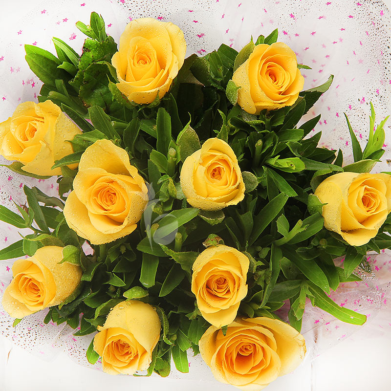 Top view of 10 yellow roses bunch - A gift of Blooming Diwali Wishes