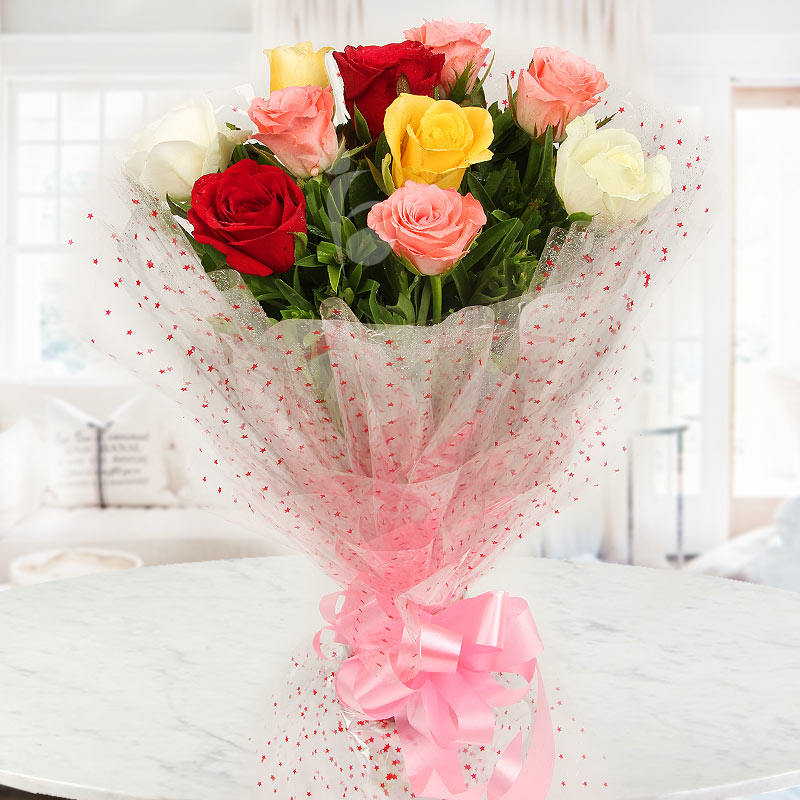 Front view of 10 mixed roses bunch - A gift of Sweet Scintillation