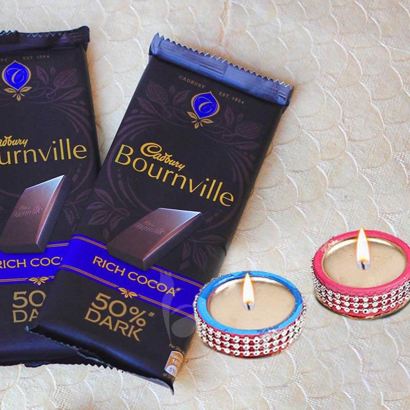 Scintillating Diwali Combo - 2 cadbury bournville and 2 designer diyas