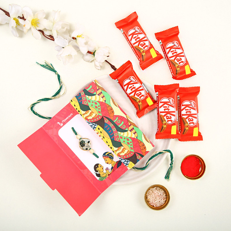 Rakhi With Kitkat Chocolate Combo - Order Online for Fast Delivery in India